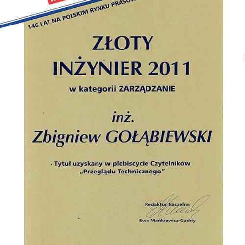 """Prezes Zbigniew Gołąbiewski został laureatem plebiscytu o tytuł """"Złoty Inżynier 2011"""" – Naczelna Organizacja Techniczna"""