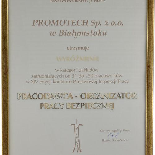 """Wyróżnienie w konkursie """"Pracodawca – Organizator Pracy bezpiecznej"""" – Państwowa Inspekcja Pracy"""