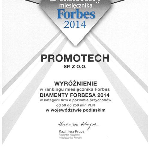 """Wyróżnienie w rankingu miesięcznika Forbes """"DIAMENTY FORBESA"""""""